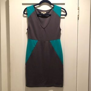 UO Silence + Noise Grey and Green Mini Dress